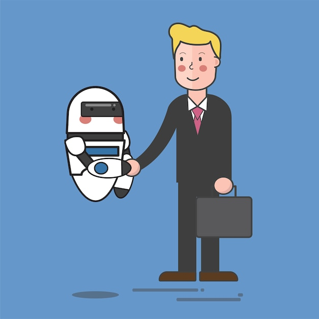 Robot and business man Free Vector