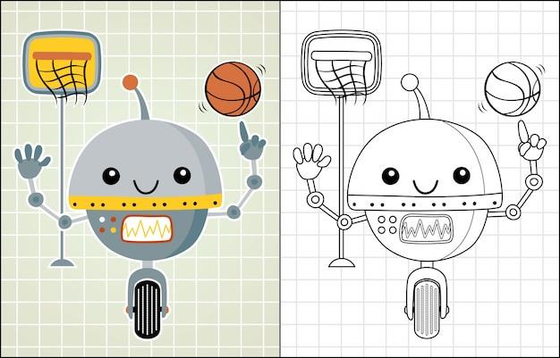 Robot cartoon playing basketball Premium Vector