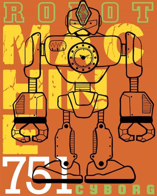 Robot cartoon with typography background Premium Vector