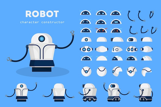 Robot character for animation with various views Premium Vector