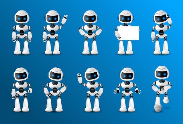 다양한 뷰, 헤어 스타일, 감정, 포즈 및 제스처가있는 애니메이션 용 로봇 캐릭터 세트입니다. ¡ 프리미엄 벡터
