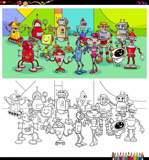Robot characters group coloring book Premium Vector