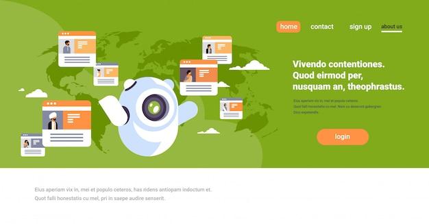 Robot chatbot online messenger indian people global communication banner Premium Vector
