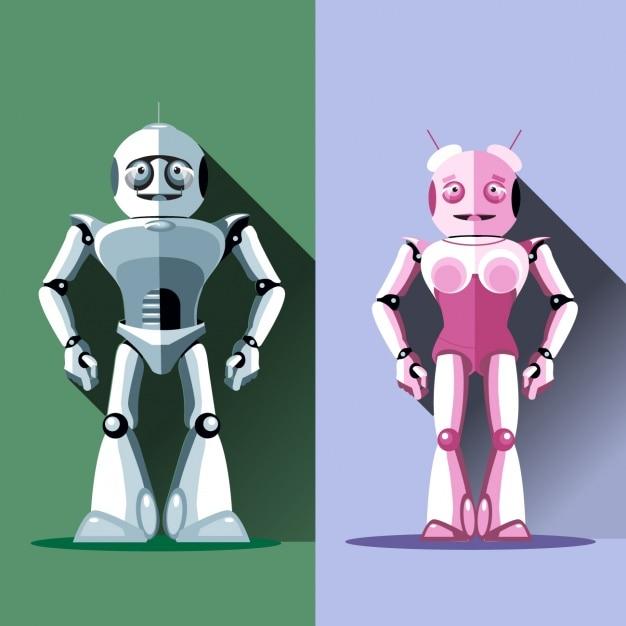 Robot couple Free Vector