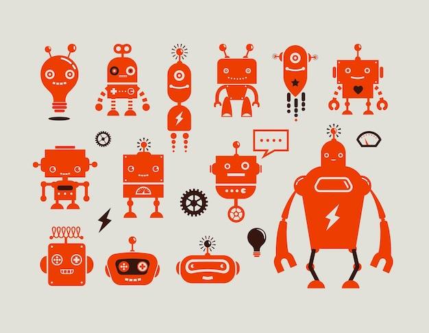 로봇 귀여운 아이콘 및 문자 프리미엄 벡터