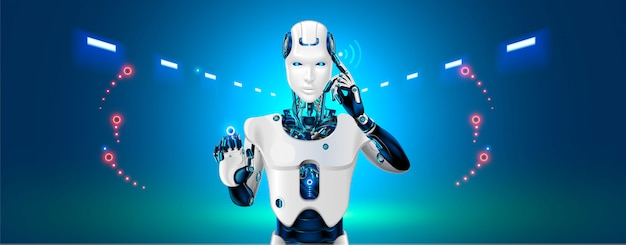 Robot cybernetic organism works with a virtual hud interface Premium Vector