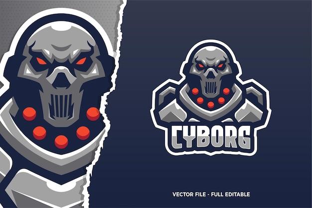 Шаблон логотипа игры robot cyborg e-sport Premium векторы