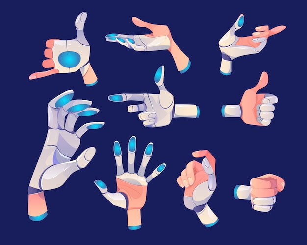 Robot or cyborg hand in different gestures Free Vector