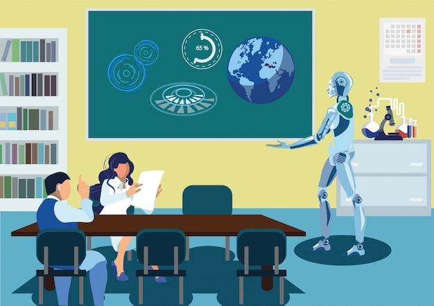 Робот, доставляющий речевую иллюстрацию Premium векторы
