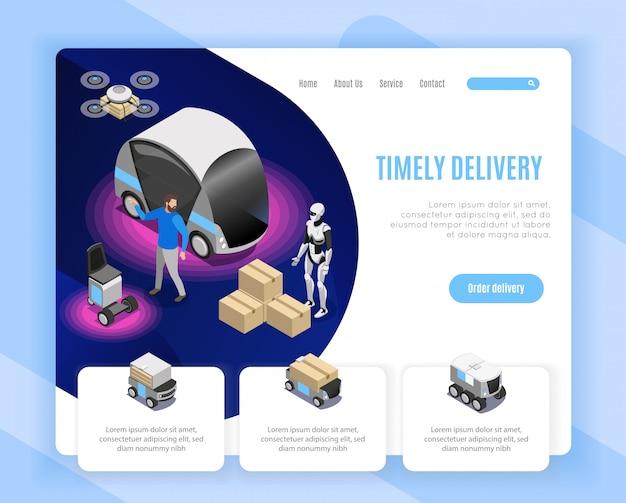 Progettazione isometrica della pagina web di opzioni di ordine di servizio di consegna del robot con l'illustrazione delle merci di caricamento umanoide di atterraggio del fuco Vettore gratuito