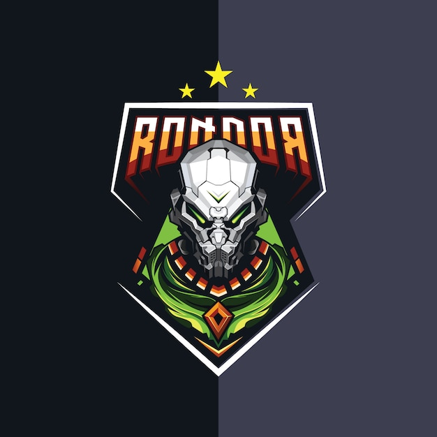 Robot esport logo design for gaming Premium Vector