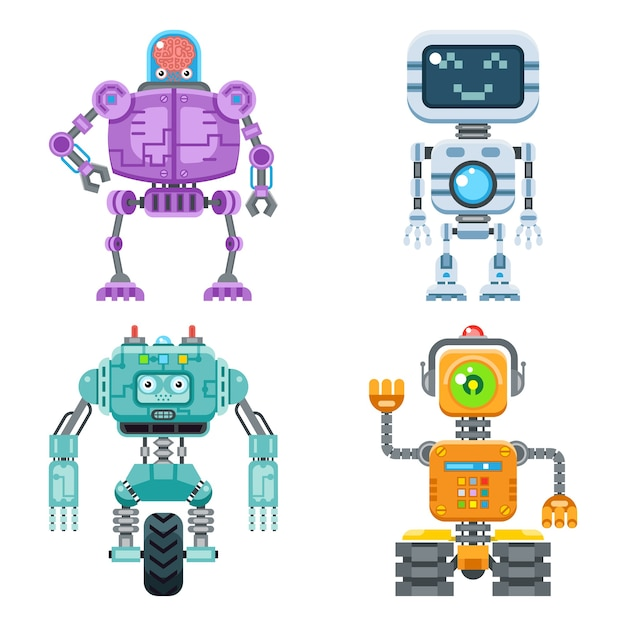 Robot flat icons  set. machine technology ai, intelligence artificial cyborg, science robotic Free Vector