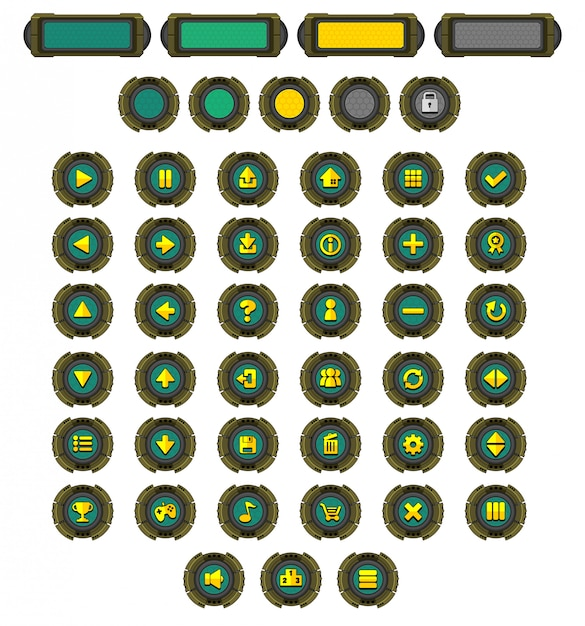 Robot game button pack Premium Vector