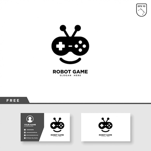 Robot game logo design and business card template Premium Vector