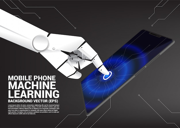 Robot hand touch on screen of mobile phone. Premium Vector