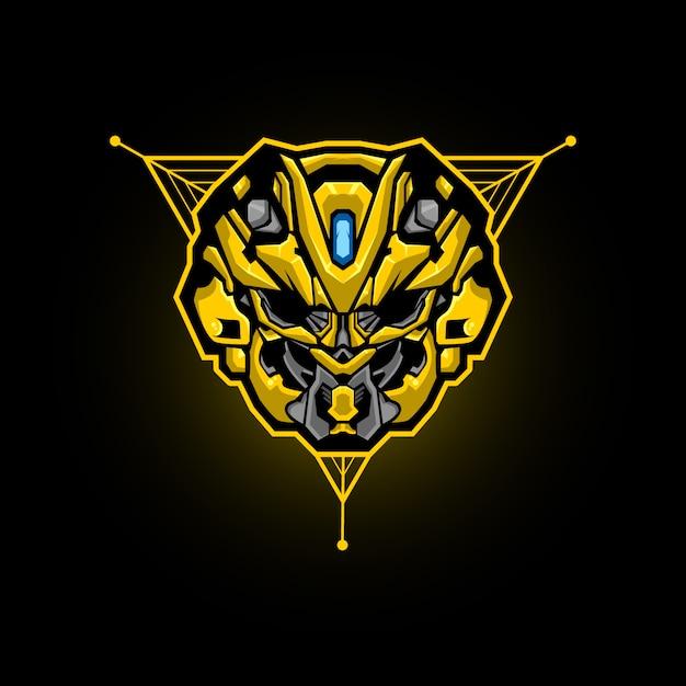 Robot head esports logo. robot head gaming mascot. Premium Vector