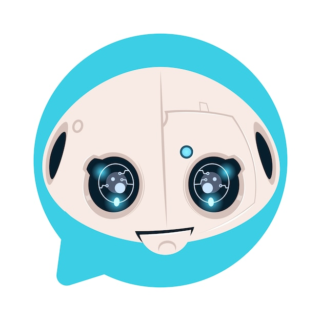 Robot head icon in blue speech bubble support chat bot concept Premium Vector