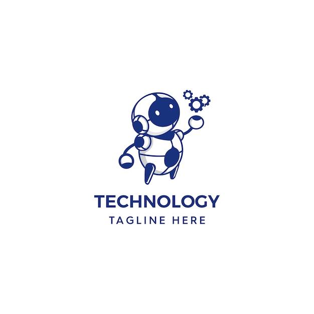Robot holding gears logo Premium Vector