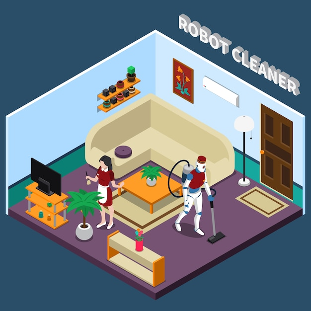 Robot housewife and cleaner professions Free Vector