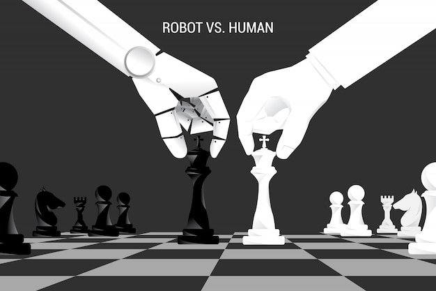 Robot and human hand move chess on board. Premium Vector