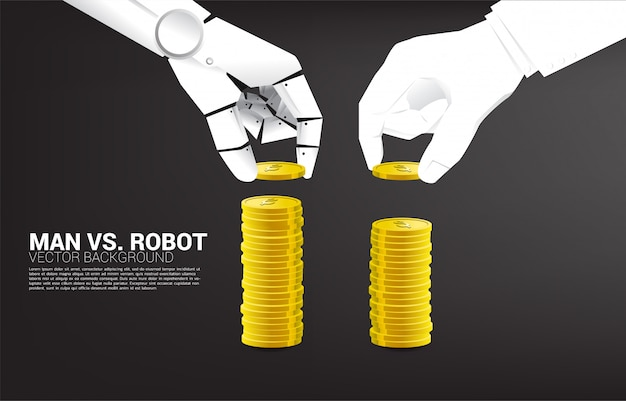Robot and human hand stack the coin. concept of business disruption and a.i. industrial Premium Vector