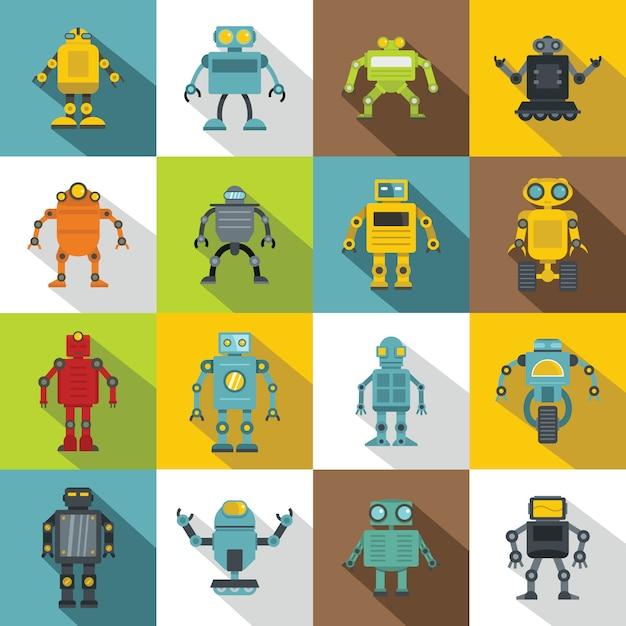 Robot icons set, flat style Vector   Premium Download