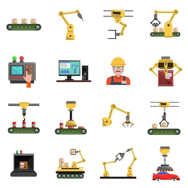Robot icons set Free Vector