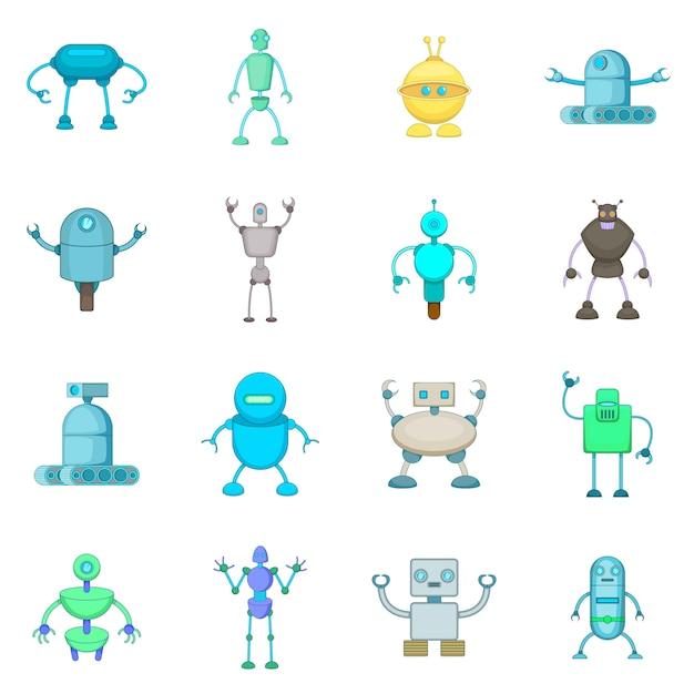 Robot icons set Premium Vector