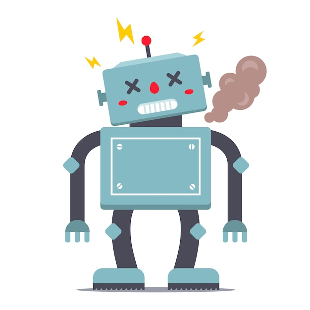 The robot is broken. smokes and sparkles. character  illustration Premium Vector