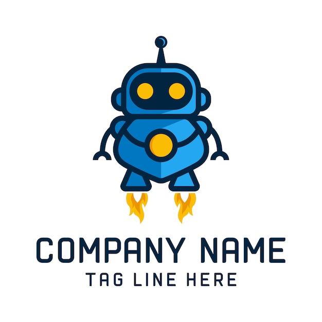 Robot logo design vector template Premium Vector