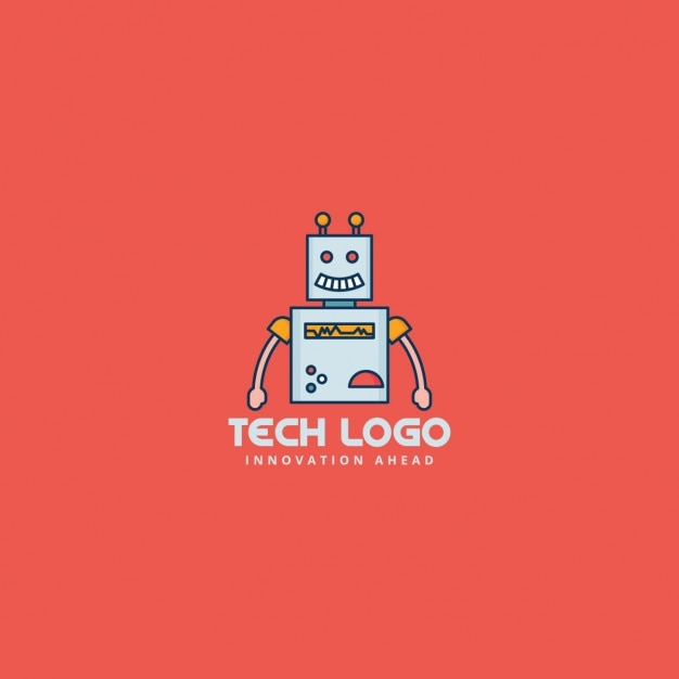 robot logo on a red background vector free download