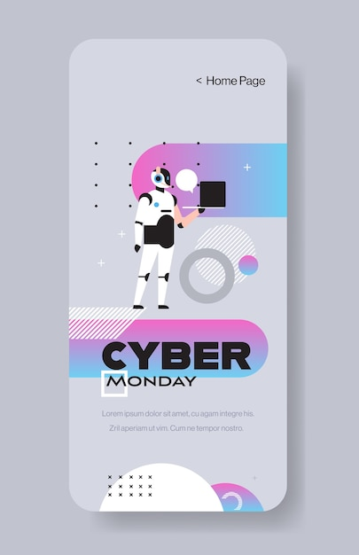 Robot operator holding laptop cyber monday big sale special offer holiday shopping discount Premium Vector