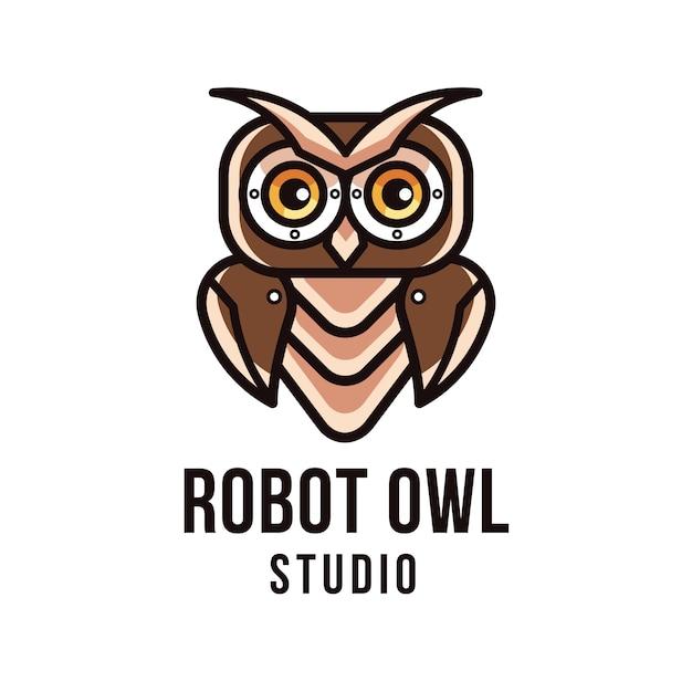 Robot owl studio logo template Premium Vector