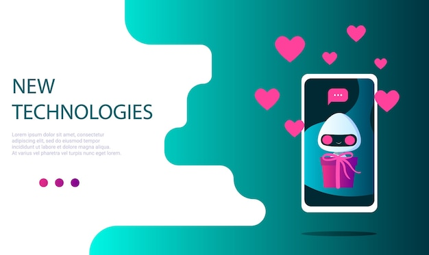A robot on the phone screen with a gift in hand and a message notification, with hearts and likes. gift delivery. landing page template Premium Vector