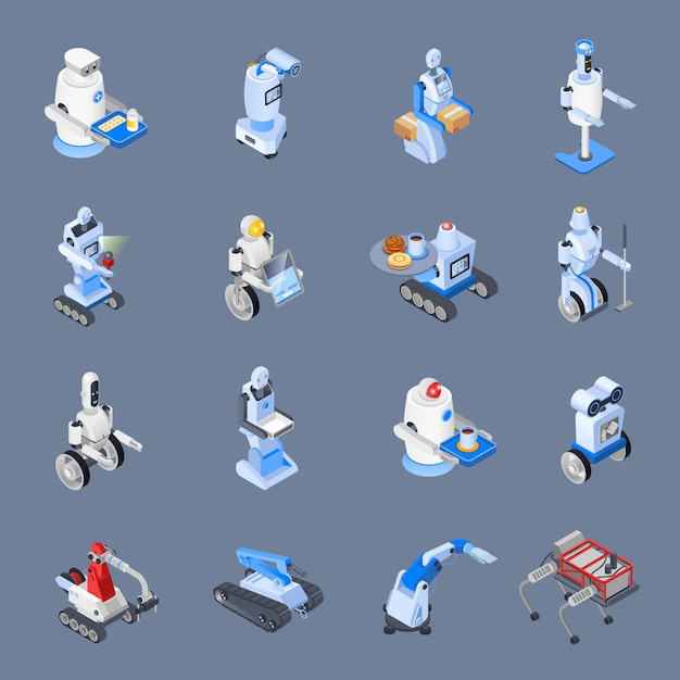 Robot professions icon set Free Vector