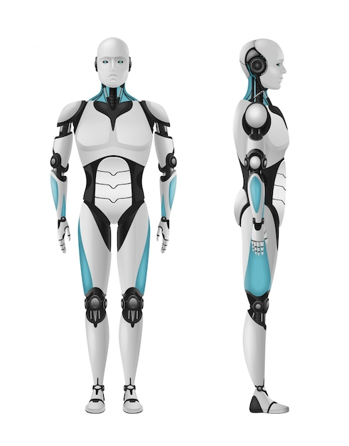 Robot realistic 3d composition with set of front and side views of masculine droid Free Vector