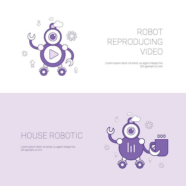Robot reproducing video and house robotic concept template web banner with copy space Premium Vector