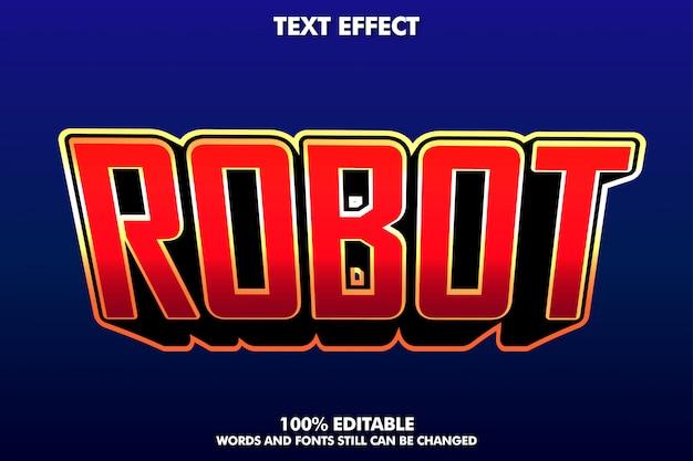 현대적인 타이틀 디자인을위한 로봇 텍스트 효과 프리미엄 벡터