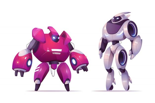 Trasformatori di robot, cyborg robotici e tecnologie di intelligenza artificiale, personaggi dell'esoscheletro da combattimento militare, guerrieri cibernetici alieni da battaglia Vettore gratuito