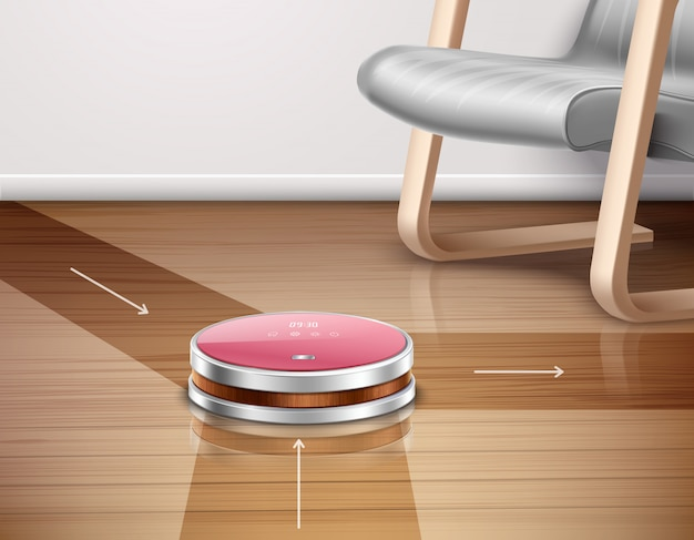Robot vacuum cleaner in work with direction of movements on parquet floor Free Vector