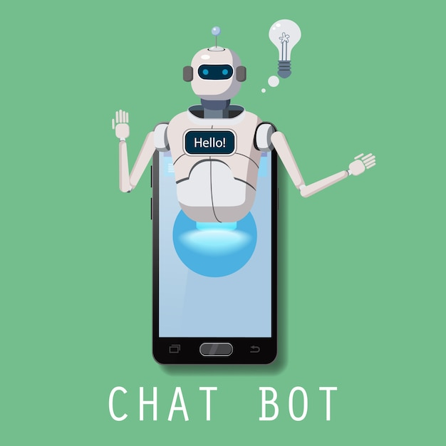 Robot virtual assistance on smartphone Premium Vector