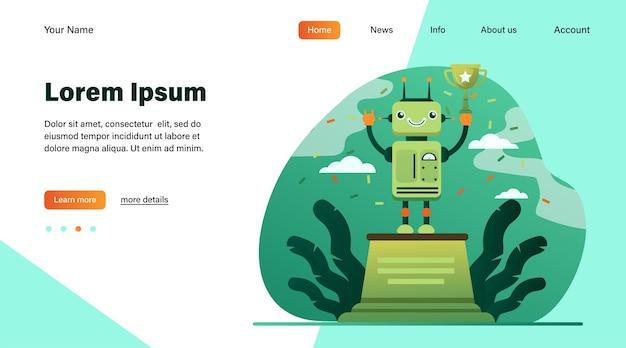 Robot vincente coppa d'oro. premio, celebrazione, illustrazione vettoriale piatto cyborg. progettazione di siti web o pagine web di destinazione per concetti di tecnologia e concorso Vettore gratuito