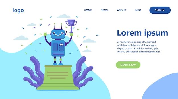 Robot vincente coppa d'oro Vettore gratuito