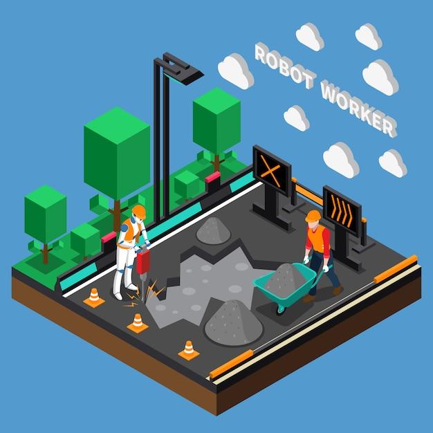 ロボット労働者の職業3 dデザインコンセプト 無料ベクター