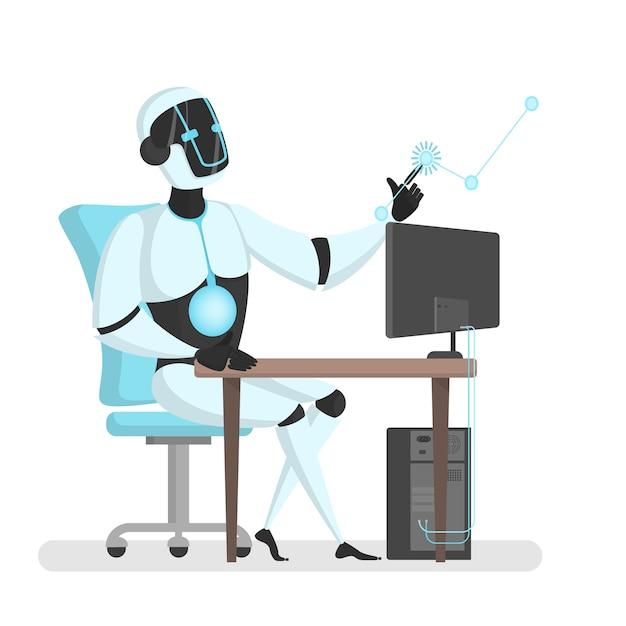 コンピューターと仮想現実を扱うロボット。 Premiumベクター