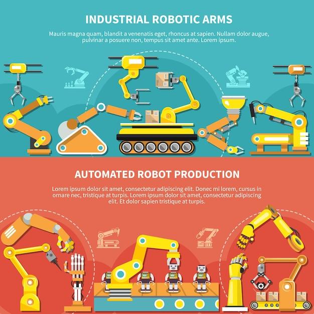 Плоская композиция роботизированной руки с промышленными роботизированными руками и описаниями производства автоматизированных роботов векторная иллюстрация Premium векторы