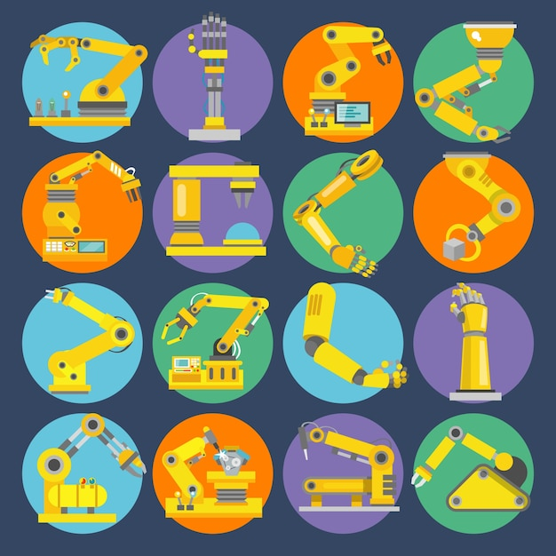 Robotic arm icons flat Free Vector