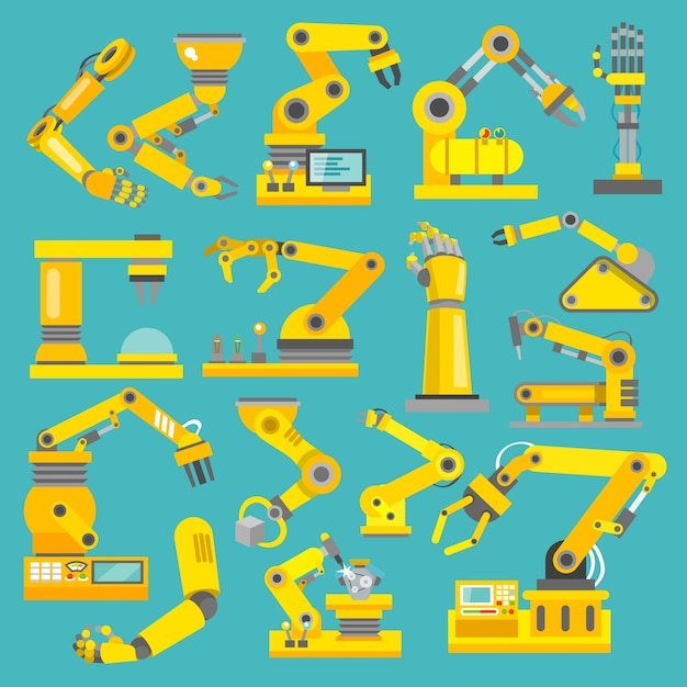 Robotic arm manufacture technology industry assembly mechanic flat decorative icons set isolated vector illustration Free Vector