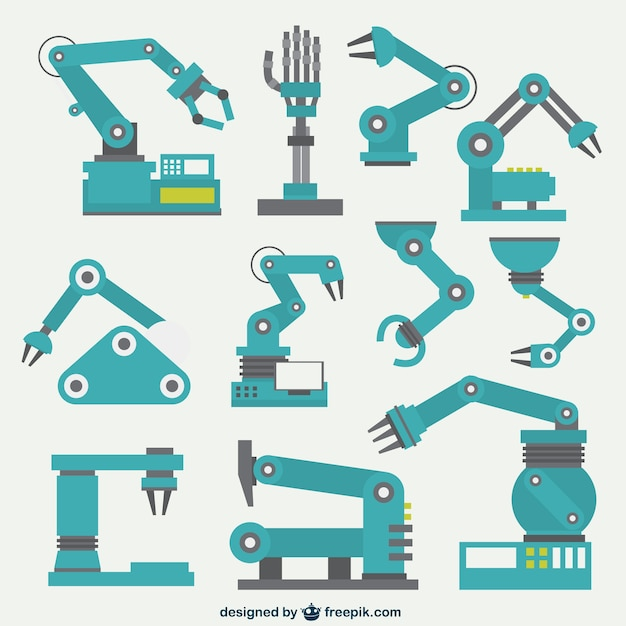Robotic arms collection Free Vector