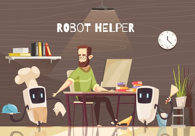 Robotic assistance devices cartoon Free Vector